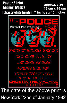 The Police live concert Madison SG New York 22 January 1982 A4 size poster print