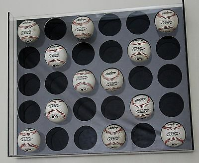Premium Wall Mount 30 Baseball Display with Black Background