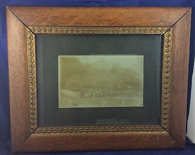 Antique Late 1800s 1900s Family or Staff photograph outside home photo framed