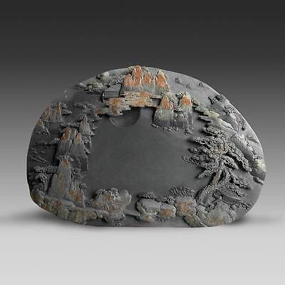 Vintage Chinese Scholar's Calligraphy Ink Stone Duan Landscape Treasures Study