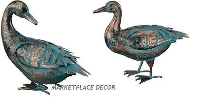 Copper Patina Garden Pond Duck Pair Metal Yard Art Decor Statue Sculpture Set/ 2