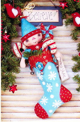 PATTERN - I Believe - Christmas cloth doll & stocking PATTERN - Annie Smith