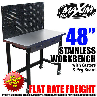 MAXIM HD Stainless Top Workbench with Peg Board and Castors
