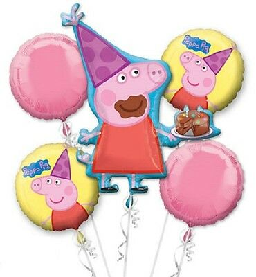 "NEW Peppa Pig Birthday Party Bouquet 33"" Mylar Foil Balloon Pink 18"" Mylar (5pc)"