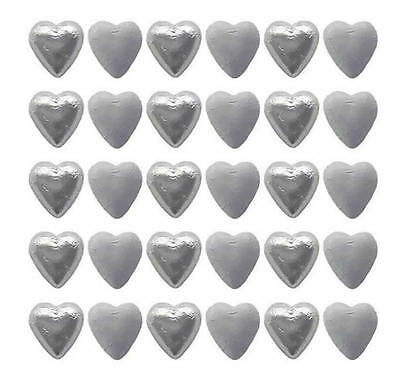 100 White And Silver Milk Chocolate Hearts - Wedding Favours Parties Candy Bar