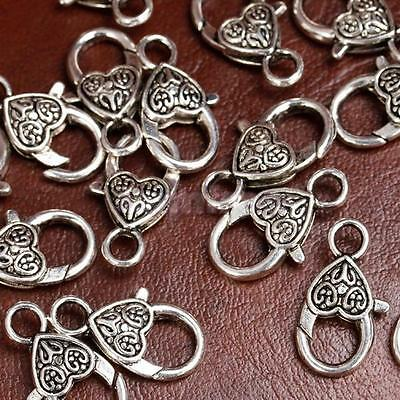 20pc Antique Tibetan Silver Heart Lobster Clasps DIY Jewelry Making Findings