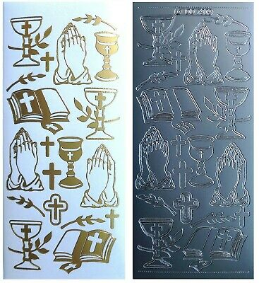 CHURCH SERVICE Peel Off Stickers Christmas Prayer Religion Cross Gold or Silver