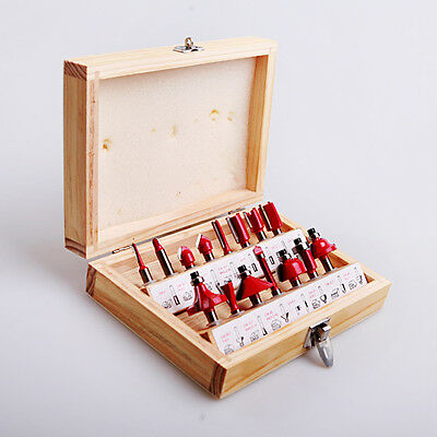 "15PC 1/4"" Shank Tungsten Carbide End Mill Cutter Tools Router Bit Wood Case"
