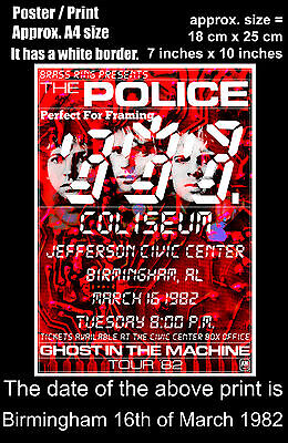 The Police live concert Birmingham Alabama 16th March 1982 A4 size poster print