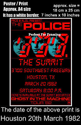 The Police live concert Summit Houston Texas 20 March 1982 A4 size poster print