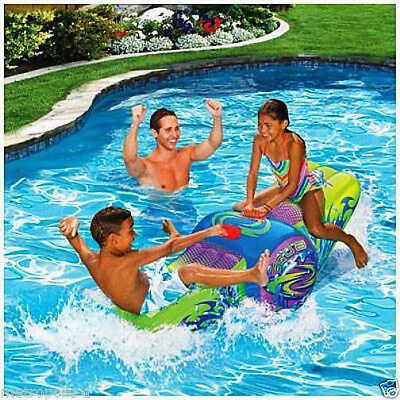 Banzai Kids Aqua Rocker,inflatable Pool Seesaw Ride-On,w/ Handles,cool Graphics,