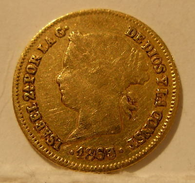 Philippines 1863 Gold 1 Peso Circulated