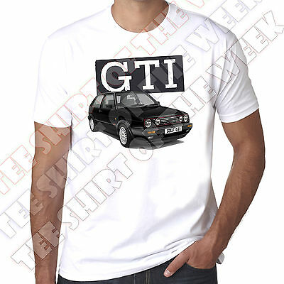 Mk2 Black Golf Gti Mens 100% cotton T-Shirt  - Personalised number plate opt.