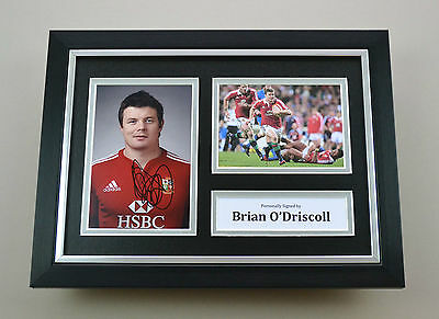 Brian O'Driscoll Signed A4 Photo Framed British Lions Autograph Display + COA