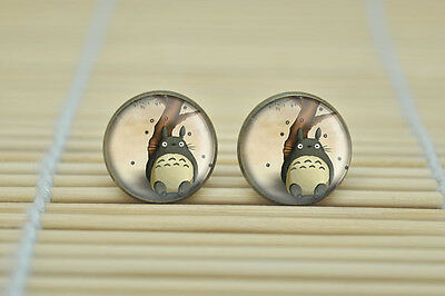 Totoro Glass Stud Bronze Earrings In Gift Bag Japanese Anime