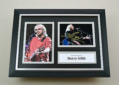 Barry Gibb Signed A4 Photo Framed Bee Gees Memorabilia Autograph Display + COA