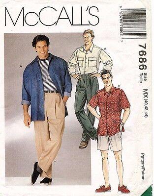 McCall's Men's Shirt and Pants or Shorts Pattern 7686 Size 40-44 UNCUT