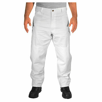 Rugged Blue Double Knee Painters Pants - White - 38x36