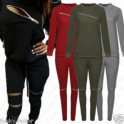 Ladies Womens Girls Chest Zip Trim Tracksuit Round Neck Lounge Wear Suit Jog Set