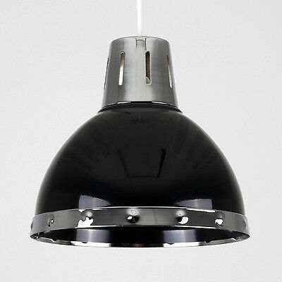 Modern Industrial Style Gloss Black & Chrome Ceiling Pendant Light Shade Lamp