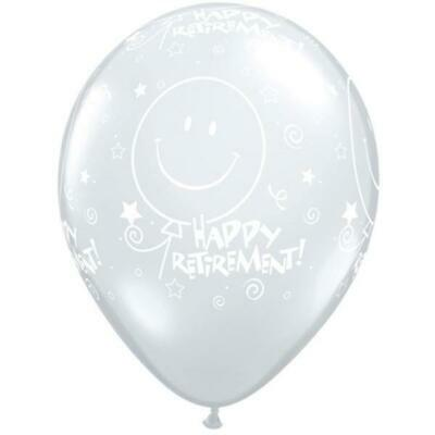 """Retirement Smile Face-A-Round 11"""" Diamond Clear Qualatex Latex Balloons x 5"""