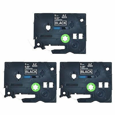 3PK TZ325 TZe325 White on Black Label Tape 3/8'' For Brother P-Touch PT-H100 9mm