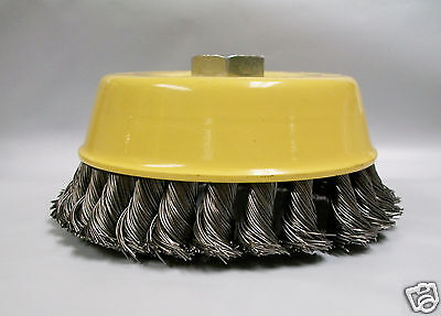 """5"""" Knotted Wire Cup Brush, Coarse, 5/8""""-11 Thread For Angle Grinders, Lot of 1"""