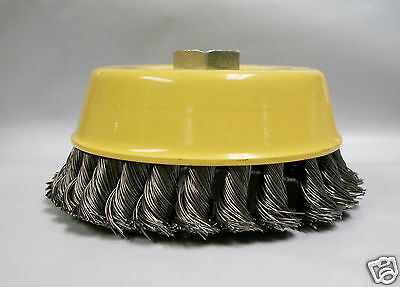 """5"""" Knotted Wire Cup Brush, Coarse, 5/8""""-11 Thread For Angle Grinders, Lot of 2"""