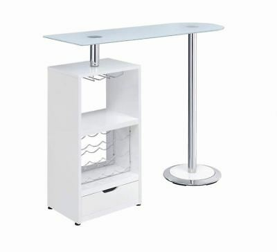 White Bar Table with Wine Bottle Storage and Glass Top by Coaster 120452
