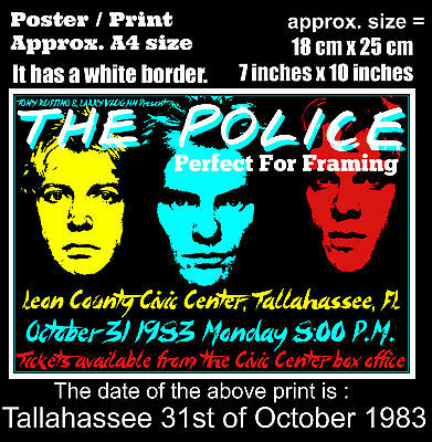 The Police live concert Tallahassee Florida 31 October 1983 A4 size poster print