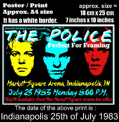 The Police live concert Indianapolis USA 25th of July 1983 A4 size poster print