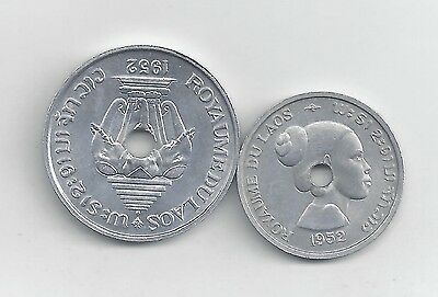 2 UNCIRCULATED COINS from LAOS - 10 & 20 CENTS (BOTH 1952)