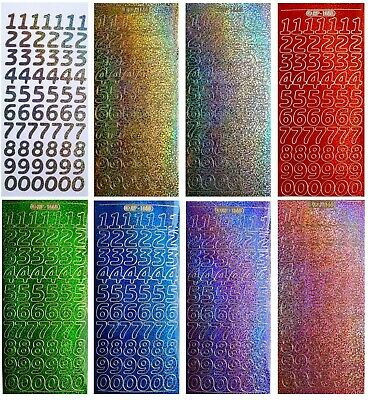 HOLOGRAPHIC NUMBERS Peel Off Stickers 18mm Metallic Card Making Gold Silver