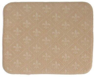 Kay Dee Designs Drying Mat Fleur De Lis 16x20 Beige Embossed Reversible A8958
