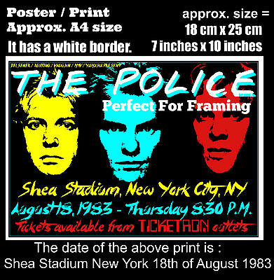 The Police live concert Shea Stadium New York 18th August 1983 A4 poster print
