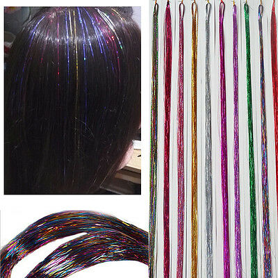 Spiral Rainbow hair tinsel silk for hair extensions/flare strands/bling 100s/lot