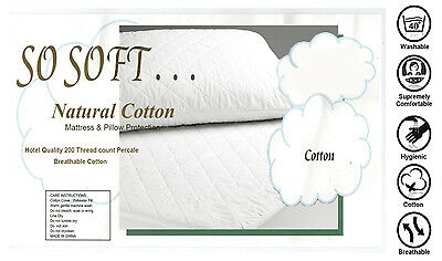 Double size100% Cotton Cover 200GSM Fill Fully Fitted Quilted Mattress Protector