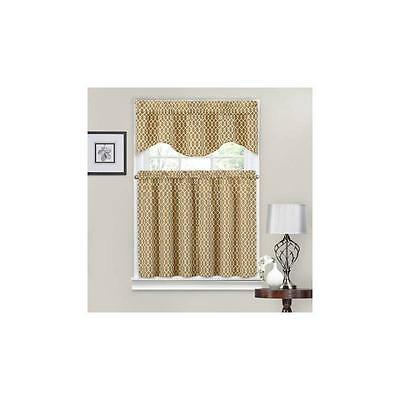 Waverly Ellis Tier And Valance Set Natural 36In X 56In