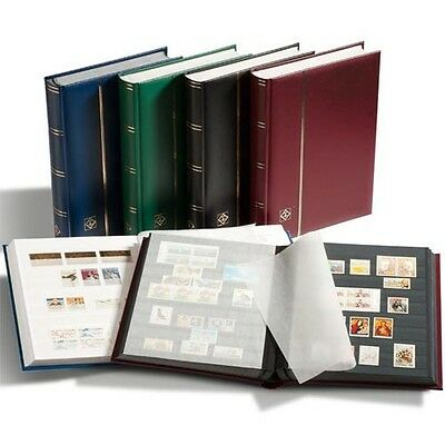 LIGHTHOUSE 339253 Stockbook A4, 32 black pages,padded cover, red