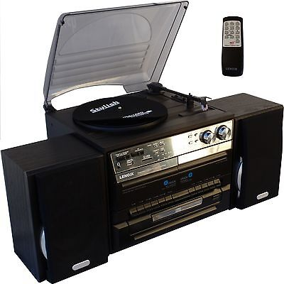 Stereo System Turntable Vinyl Record Player Dual Cassette Recorder USB CD MP3