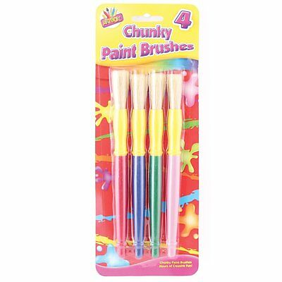 Pack of 4 Chunky Paint Brushes Assorted Colours Tallon Childrens Artbox Set
