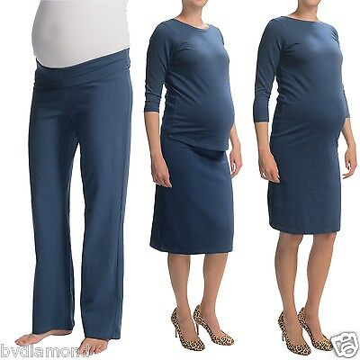 Belly Basics Maternity survival kit XS 4p set top pants dress skirt cotton Brown