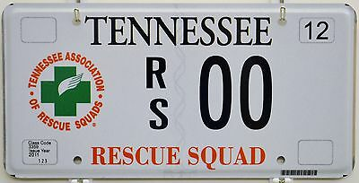 Tennessee Rescue Squad Sample License Plate Tag ++ RS00 TN