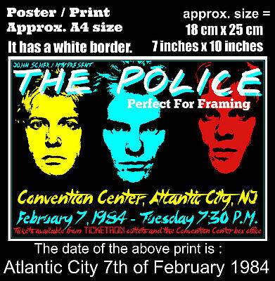 The Police live concert Atlantic City 7th of February 1984 A4 size poster print