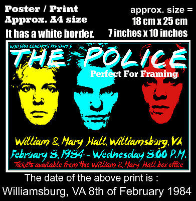 The Police live concert Williamsburg VA 8th February 1984 A4 size poster print