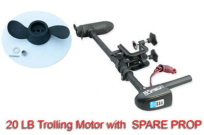 Trolling Motor 20 lbs Electric w battery indicator KAYAK SUP MOTOR + SPARE PROP