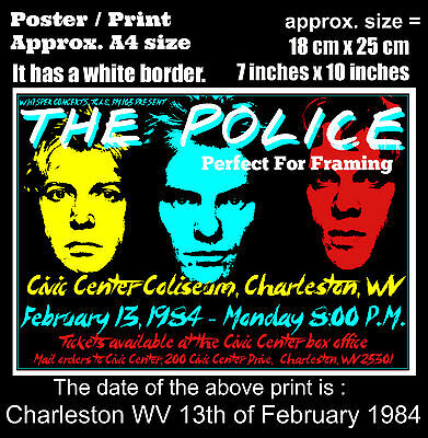 The Police live concert Charleston WV 13th of February 1984 A4 size poster print