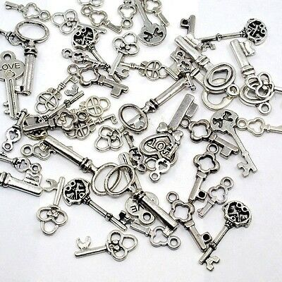 50 Mixed Lot Antique Silver KEY CHARMS Assorted Sizes 15-30mm w/ loop SteamPunk