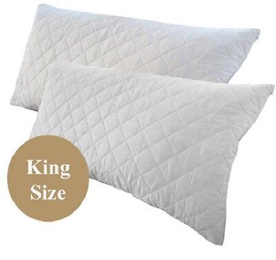 Pair of King Size Quilted Pillow Protector 200gsm 100% Cotton Cover 54x96cm