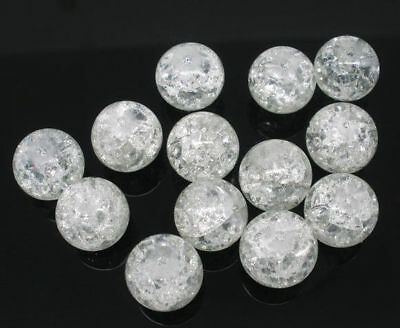 100 x White Crackle Glass Beads Jewellery Craft Supplies - 8mm - L05638